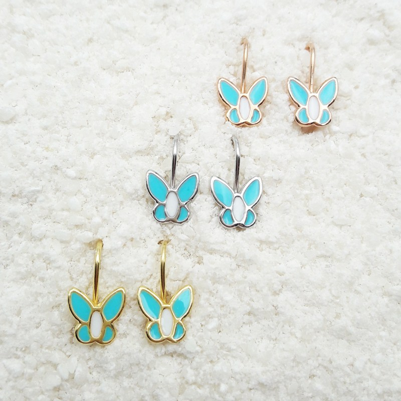 butterfly dagling earrings light blue