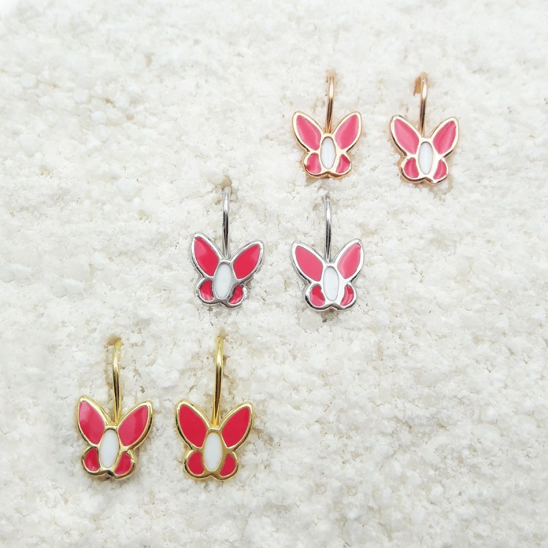 butterfly dangling earrings coral
