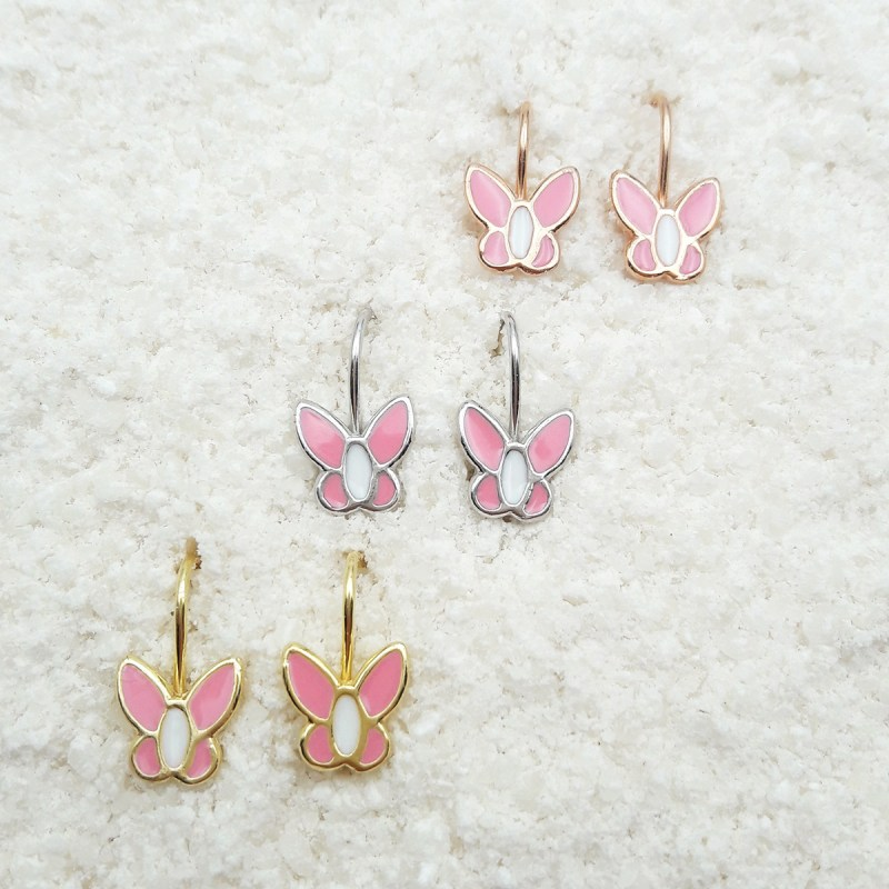 butterfly dangling earrings light pink
