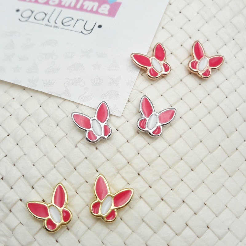 butterfly earrings coral