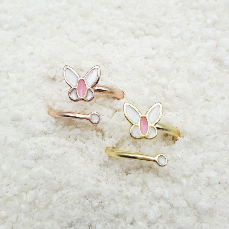 butterfly ring white